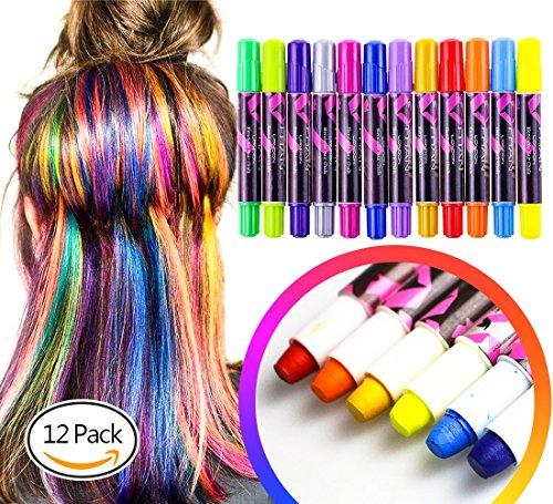 Haarkreide, MiMoo 12 Farben Haarkreide Haarentfärber Ungiftig Waschbar -
