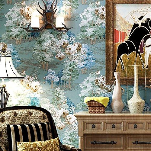 3d wallpaper American Land Vintage Garten Blumen Vliestapete Hintergrund Wand Papier Kaufen Sie drei Get One Free ( Color : Blue )