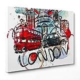 259c6eee9e QUADRO SU TELA CANVAS - INTELAIATO - PRONTO DA APPENDERE - Londra UK  Inghilterra Illustrazione -