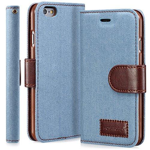 "Fosmon CADDY-JEANS Leder Multipurpose Wallet Case Brieftasche Cover hülle für Apple iPhone 6/6s (4.7"") - Blau hellblau"
