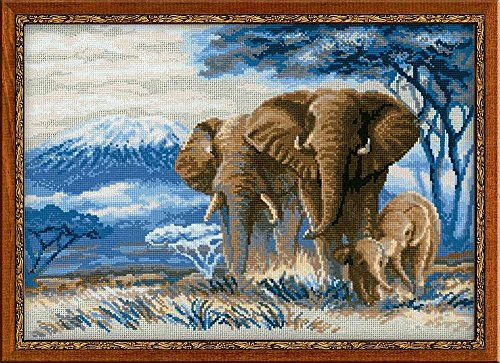 Riolis 1144 Kreuzstich-Set Elefanten in der Savanne Kreuzstich-Set, Baumwolle, Mehrfarbig, 40 x 30 x 0.1 cm
