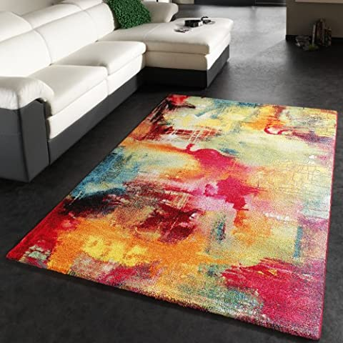 Teppich Modern Design Teppich Leinwand Optik Multicolour Grün Blau Rot