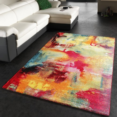 PHC Tapis Design Moderne Toile Optique Multicolore Vert Bleu Rouge Jaune, Dimension:120x170 cm