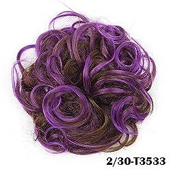 DENIYA Ladies Synthetic Curly Elastic Multi-Tonal Colored Hair Bands Hair Bun Extension Hairpiece
