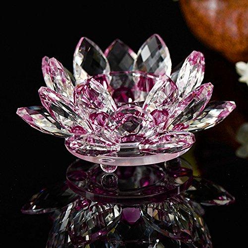 TianranRT 7 Farben Kristall Glas Lotus Blume Kerze Tee Licht Halter Buddhist Kerzenständer (Rot)