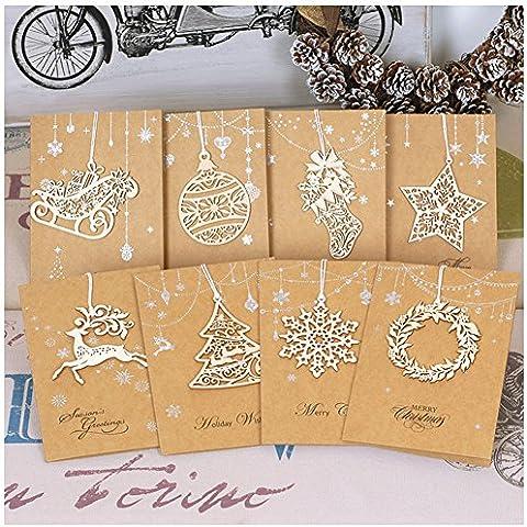 Auspicious beginning® 8pcs saluto Vacanza unica, Cartoline di Natale con legno ritagliate ornamenti di