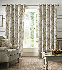 """Falling Leaves Stripe Green Taupe Lined 90"""" X 90"""" - 229cm X 229cm Ring Top Curtains by Curtains"""