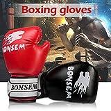 Boxhandschuhe für Männer und Frauen mit Klettverschluss Trainingshandschuhe für Sparring Kickboxen Boxsack Kampf FausthandschuheMuay Thai, Schwarz/Rot