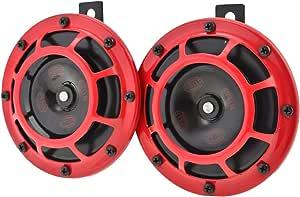 Hella 3ag 003 399 801 Horn B133 12v Frequenzbereich 300 500hz Starkton Gehäusefarbe Rot Schwarz Flachsteckanschluss Set Menge 2 Auto