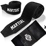 Bandes de boxe MARTIAL, passant de pouce et fixation velcro. Ne se détendent jamais, absorption maximale de la transpiration – idéales pour le MMA, la boxe, le kick-boxing et le sparring !