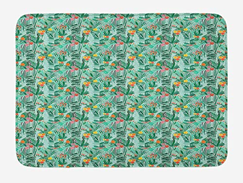 tgyew Floral Bath Mat, Expressionist Pink Tulips Flowers Foliage Summer Ferns Paradise Exotic Hawaiian, Plush Bathroom Decor Mat with Non Slip Backing, 23.6 W X 15.7 W Inches, Multicolor Floral Tulip-rock