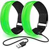 Hulier LED Armband,Armband Running for Men And Women,2 Pack Reflective Safety Armband Flashing Strips Bracelet for Jogging Cy