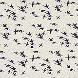 Fabulous Fabrics Alpenfleece Kraniche – Hellgrau — Meterware ab 0,5m — zum Nähen von Sweatshirts und Jacken