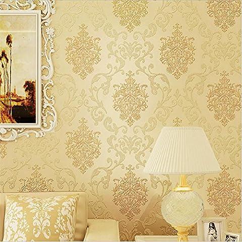 Papier peint autocollant plus épais Style moderne 3D Papier simple non tissé Papier peint en couleur solide Salon de la décoration Salon du téléviseur Chambre des enfants Café magasin de vêtements (53 cm (W , cream color