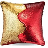"Go Hooked Reversible Sequin Pillow Cover Cushion Case 16""x16"" (Red-Gold) (Set Of 5) / Reversible Cushion Cover/Sequin Cushion Covers 16x16 / Sequin Cushion Cover"