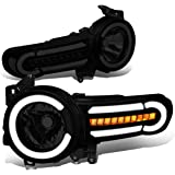 DNA MOTORING Black Housing/Smoke Lens/Clear HL-LB-FJC07-BK-SM-CL1 Pair LED DRL+Sequential Chasing Turn Signal Headlight Lamps