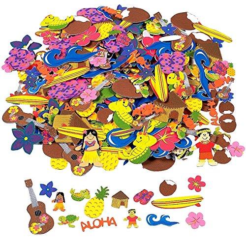 Preisvergleich Produktbild 50 x Sticker Aufkleber Hawaii Sommerparty Strandparty Ananas DIY Moosgummi Schildkröte Flip Flop Surfbrett Welle Kokosnuss Baste