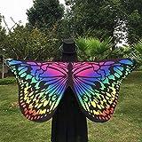 Ularma Schöne Weiche Schmetterlingsflügel Schal 145*65CM Fee Kostümzubehör (Bunt2) -