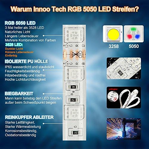 InnooLight 5m 300LEDs IP65 wasserfest warmweiss bunt selbstklebend SMD 5050 LED Streifen inkl. 44-Tasten Fernbedienung mit Farbauswahl