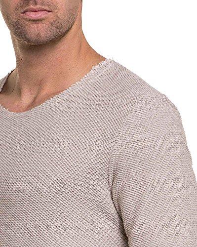 BLZ jeans - Pull beige maillé à encolure ronde large Beige