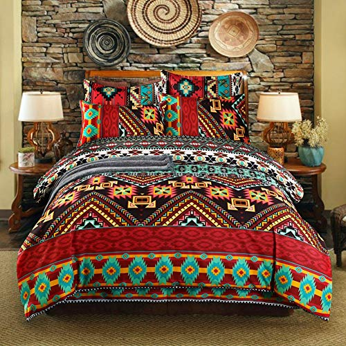 BestBed Bohemian Ethnic Bettwäscheset Mikrofaser Boho Art Bettdecke mit Kissenbezug Buntes marokkanisches Bettwäscheset (Color : G, Size : US-King(260X230cm))