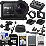 Nikon KeyMission 170 Wi-Fi Shock & Waterproof 4K Video Action Camera Camcorder + Remote + Helmet/Flat Surface Mounts + 64GB Card + Battery + Case + Selfie Stick Kit