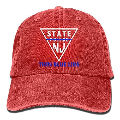 ferfgrg New Jersey State Police Thin Blue Line Denim Hat Women Snapback Baseball Cap HI556 -