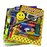 Best Return Gift For Kids Birthday Party (Set Of 12) Colouring & Stickers Book +Wax Crayons +Stationary Set +Happy Birthday Printed Poly Bags Best Goodies Bag