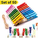 Tied Ribbons 50 Piece Wooden Clips for Photo Paper Craft Photographs with Rope, Multicolour