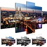 Bilder 200 x 100 cm - Köln Bild - Vlies Leinwand - Kunstdrucke -Wandbild - XXL Format – mehrere Farben und Größen im Shop - Fertig zum Aufhängen - !!! 100% MADE IN GERMANY !!! - Stadt – City – Nacht 601551a