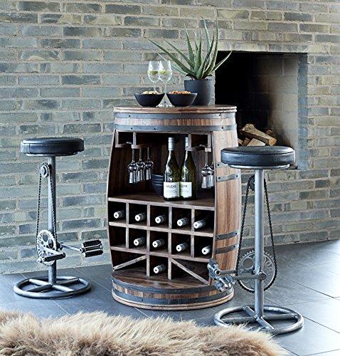 Canett Furniture Rosey Weinfass Weinregal Aus Holz Flaschenregal Fass, Tisch/Bartisch/Theke, Holz, Braun, 67 x 67 x 90 cm