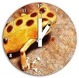Orangner imagen de la rana en el reloj de pared con el blanco embotar las manos y la cara, de...
