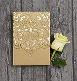 Singular Luxury Gold Diamante Laser Cut Pocketfold Printed Wedding Invitation (Non-Personalised Sample)
