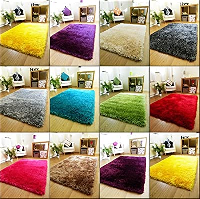 NEW THICK SILKY SOFT HAND TUFTED SHAGGY RUG HIGH QUALITY 6CM PILE (80x140CM) - inexpensive UK light shop.