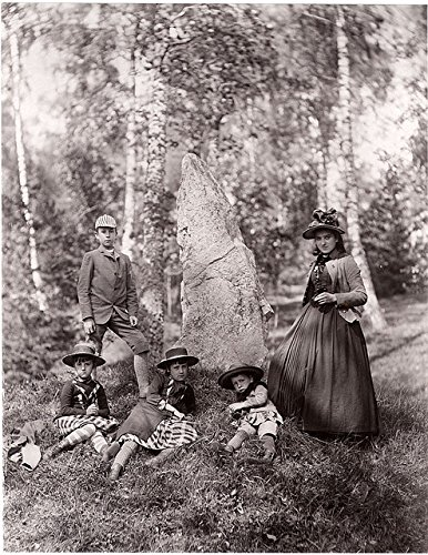 poster-a3-sweden-runestone-antuna-uppland-curman-children-their-french-governess-beside-rune-stone-u