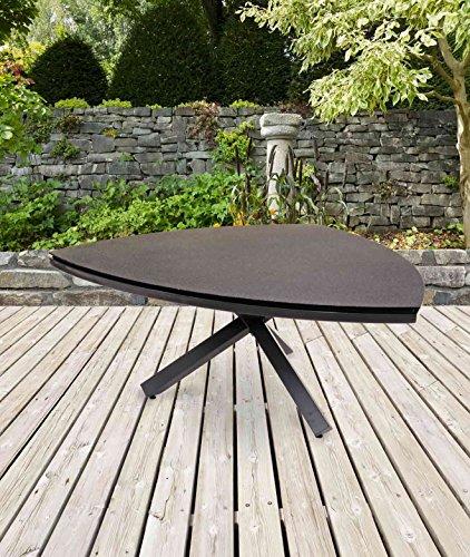 lifestyle4living Dreieckiger Gartentisch in Grau mit Dreibein aus Alu und Steinoptik-Tischplatte...