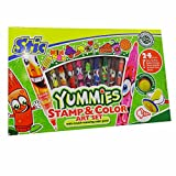 #7: Stic yummies stamp & color art set 24 pieces, 10 twin-tip pens 8 rummer stamps 2 stamp handles 4 stamp & color sheets (multicolor) birthday gift return