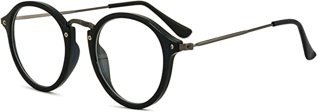 Royal Son Round Spectacle Frame For Men and Women (RS0017F|47| Transparent Lens)