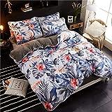AZSUR Vier Stück Baumwolle bedeckt Bettdecke, Reine Baumwolle Korallen Haufen Bettwäsche, Herbst und Winter Warmes Bett Gesetzt, 1,5 * 2,0 m, Flamme