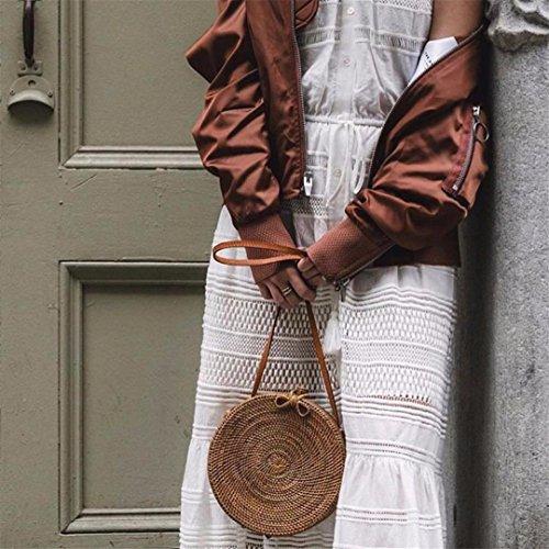 SPWERINGES Bali Insel Rattan Tasche Kleine Handgemachte Stroh Tasche r Strandtasche für Frauen Crossbody Ata Handtasche