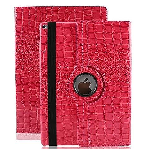 iPad Pro 9.7 Smart Case , elecfan ® 360 Grad Rotierende PU Leder Hülle Ultra Dünnen Leichtgewicht Tasche Wasserdicht Case Smart Cover mit Ständer Multi Winkel Betrachtung Anti Kratzer Schutzhülle für iPad Pro 9.7 (iPad Pro 9.7, Rose Red)