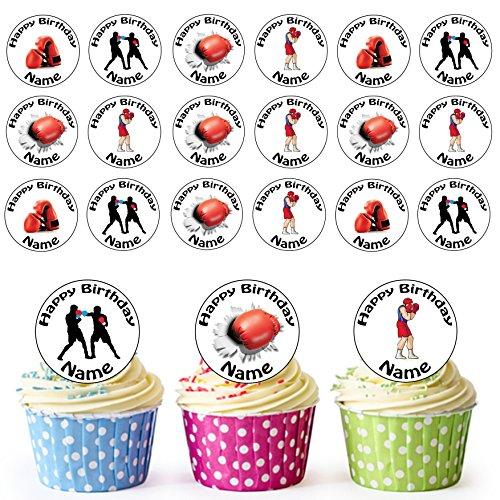 De boxe Mix 24 personnalisé comestible pour cupcakes/décorations de gâteau d'anniversaire – Facile prédécoupée + Cercles