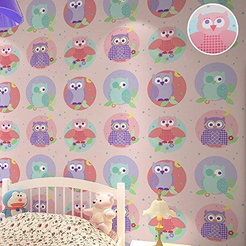 3d wallpaper Umwelt niedlichen Eule Vogel rosa blau Tapete Kindergarten Kinderzimmer junge Mädchen wallpaper Kaufen Sie drei Get One Free ( Style : C02504 )