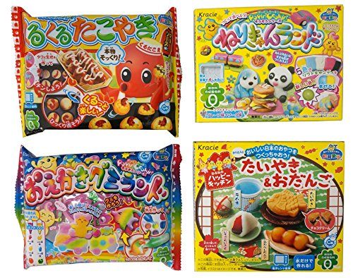 """Assortment of 4 Kracie Popin Cookin & Happy Kitchen Kits \""""NT6000247\"""" 4 Packs of DIY Candy Kit Ninjapo Package"""