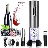 Rovtop Elektrische kurkentrekker, roestvrij staal, automatische wijnflesopener, set met foliesnijder