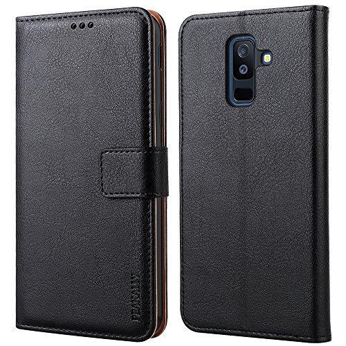 """Peakally Coque Samsung Galaxy A6 Plus 2018, PU Etui Housse en Cuir Portefeuille de Protection pour Samsung A6 Plus 2018 6.0""""-Noir"""