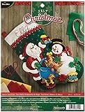 Bucilla 45,7cm Chaussette de Noël en Feutre Applique kit, 86658Père Noël et Bonhomme de Neige