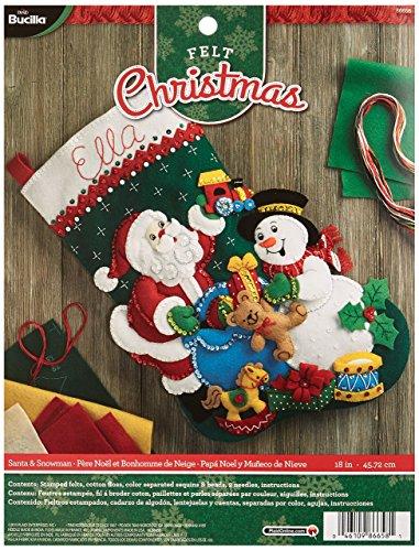 Bucilla 18Weihnachtsstrumpf-Applikation aus Filz, 86658Santa und Schneemann (Weihnachtsstrumpf Filz Kit)