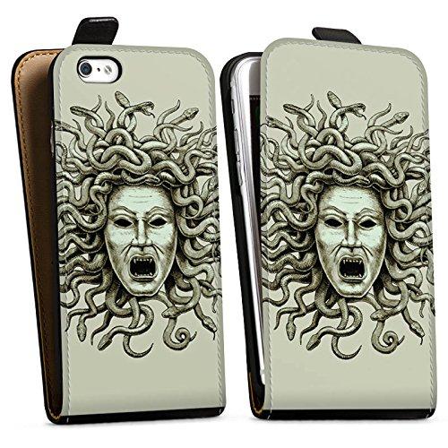 Apple iPhone X Silikon Hülle Case Schutzhülle Medusa Schlangen Frau Downflip Tasche schwarz