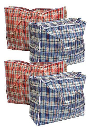 4 Stück Aufbewahrungstasche Einkauftasche Jumbo Tasche farblich sortiert gross (Große 4 Taschen)